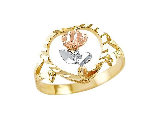 14k Yellow White and Rose Gold Flower New Fashion Ring