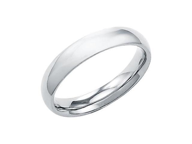 14k Solid White Gold Plain Dome Wedding Heavy Ring Band 4MM - Size 10 - 4.5 Grams