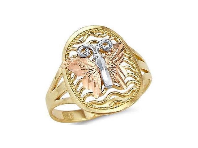 14k Yellow White and Rose Tri-Color Gold Butterfly Ring