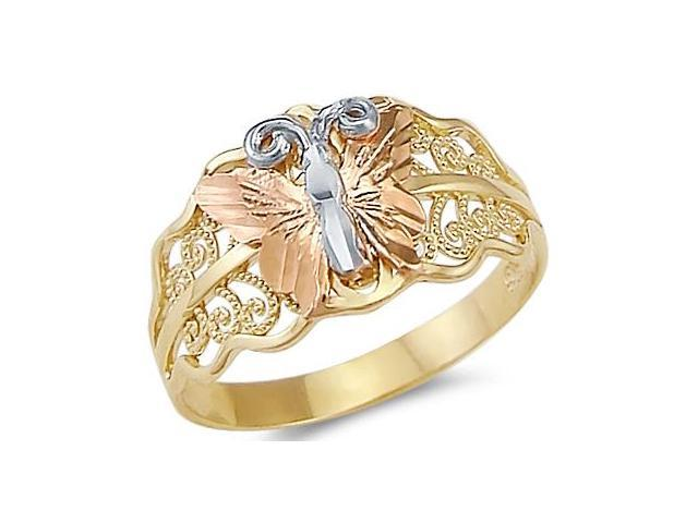 14k Yellow White Rose Three Color Gold Butterfly Ring