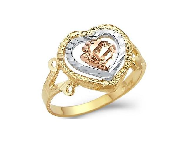14k Yellow Tri-Color Gold Heart Rose Flower Love Ring