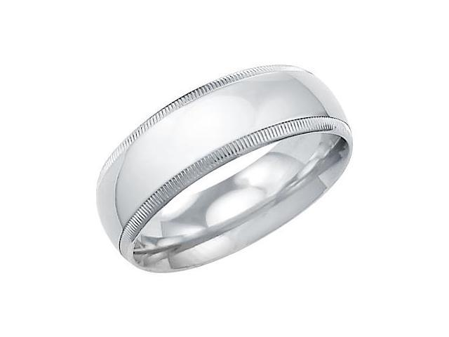 14k Solid White Gold Plain Milgrain Wedding Band Ring 7MM - Size 9 - 7.4 Grams