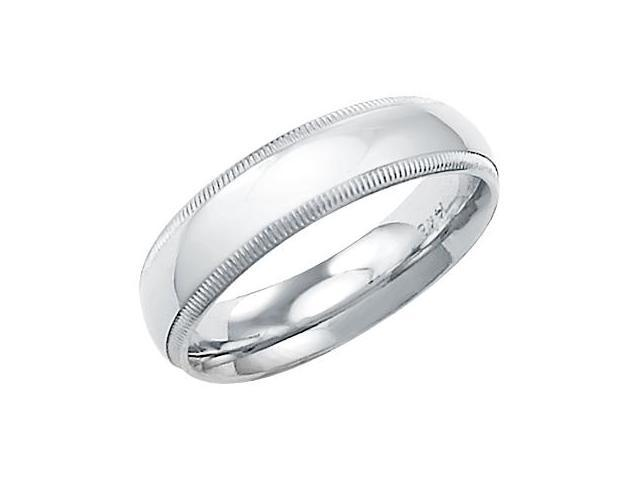 14k Solid White Gold Plain Milgrain Wedding Band Ring 5MM - Size 6 - 4.5 Grams