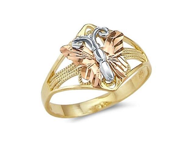 14k Yellow White n Rose Three Color Gold Butterfly Ring
