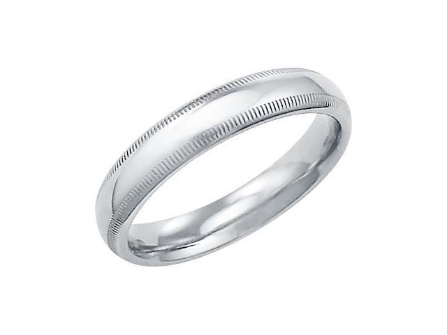 14k Solid White Gold Plain Milgrain Wedding Band Ring 4MM - Size12 - 4.9 Grams