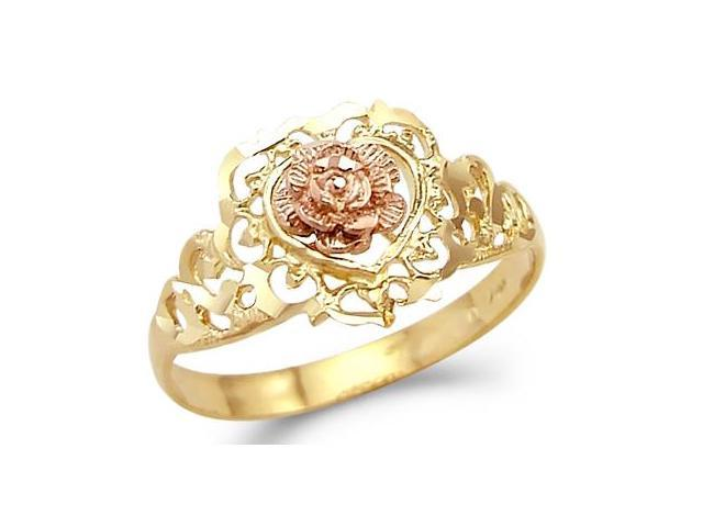 14k Yellow and Rose Gold Rose Heart Flower Love Ring