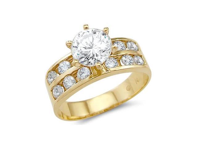 Solid 14k Yellow Gold Solitaire CZ Cubic Zirconia Engagement Ring Band 1.5ct Round Cut