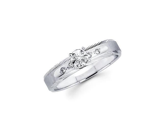 .08ct Diamond 14k White Gold Solitaire Round Engagement Ring (H-I Color, I1 Clarity)