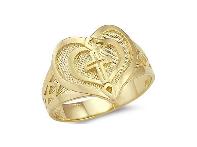 New Solid 14k Yellow Gold Heart Cross Ladies Ring