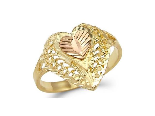 14k Yellow n Rose Gold Two Tone Ladies Love Heart Ring
