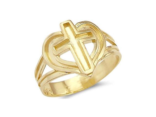 New Solid 14k Yellow Gold Beautiful Heart Cross Ring