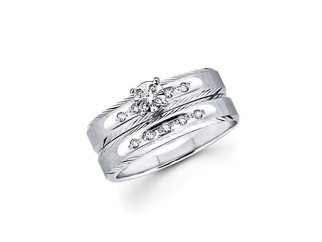 .13ct Diamond 14k White Gold Engagement Wedding Two Ring Set (H-I Color, I1 Clarity)