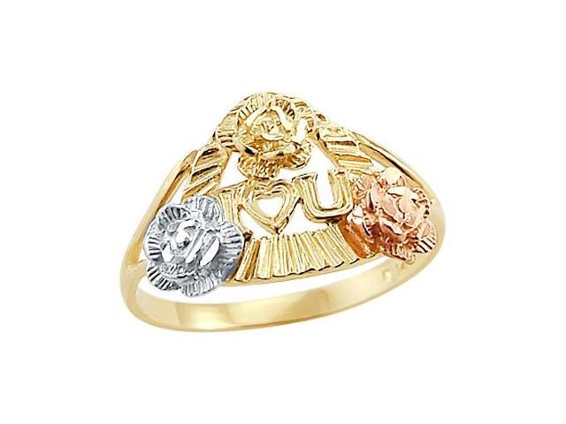 14k Yellow and Rose Gold I Love you Flower Ring