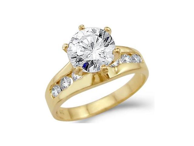 Solid 14k Yellow Gold Solitaire Round CZ Cubic Zirconia Engagement Ring New 1.5 ct