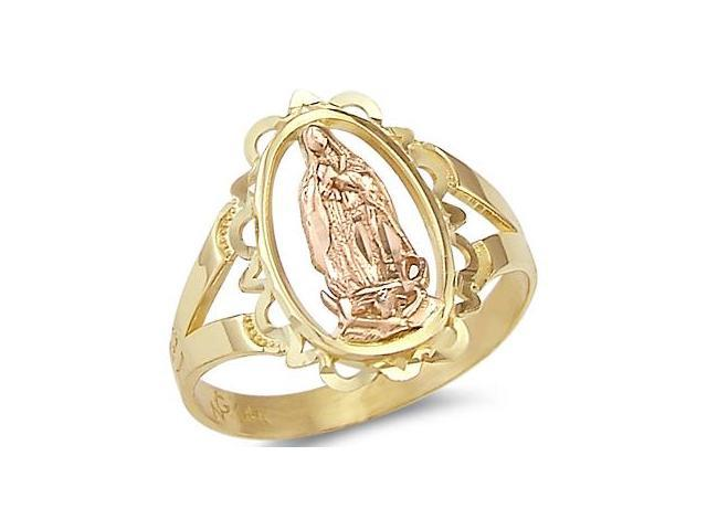 14k Yellow n Rose Two Tone Gold Virgin Mary Ring