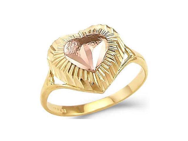 14k Yellow and Rose Gold 2 Tone Ladies Heart Love Ring
