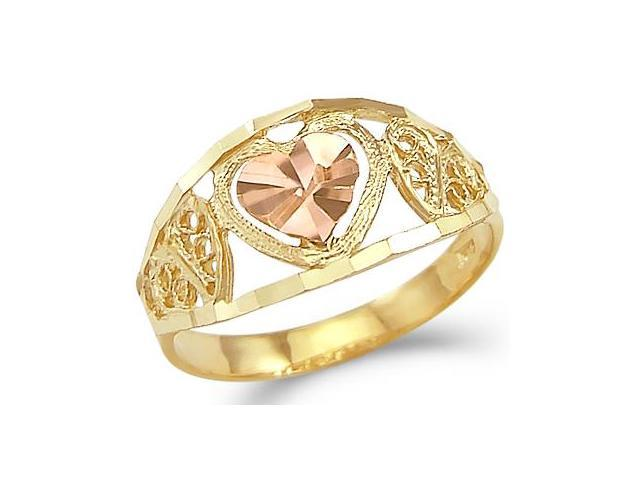 14k Yellow and Rose Two Tone Gold Small Heart Love Ring