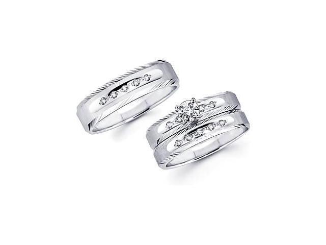 .18ct Diamond 14k White Gold Engagement Wedding Trio His and Hers 3 Ring Set (HI, I1)