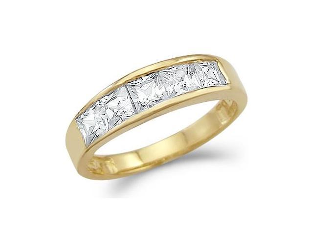 Solid 14k Gold Princess Cut Channel Set CZ Cubic Zirconia Wedding Band Ring 2.0 ct