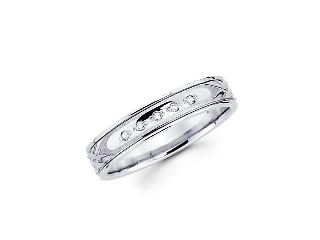 .05ct Diamond 14k White Gold Round Matching Wedding Ring Band (H-I Color, I1 Clarity)