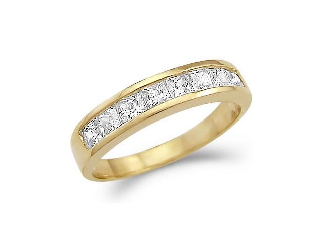 Solid 14k Gold Channel Set Princess Cut CZ Cubic Zirconia Wedding Band Ring 1.25 ct