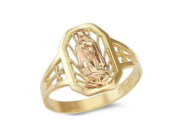 14k Yellow n Rose Gold Virgin Mary Cross Guadalupe Ring