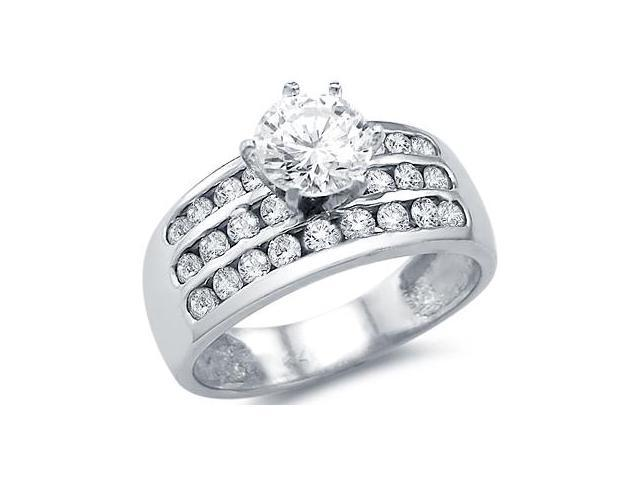 Solid 14k White Gold Solitaire Channel Set CZ Cubic Zirconia Engagement Ring Round Cut 3.0 ct