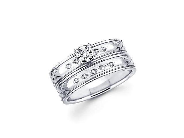 .13ct Diamond 14k White Gold Engagement Wedding Two Ring Set (H-I Color, I1 Clarity)