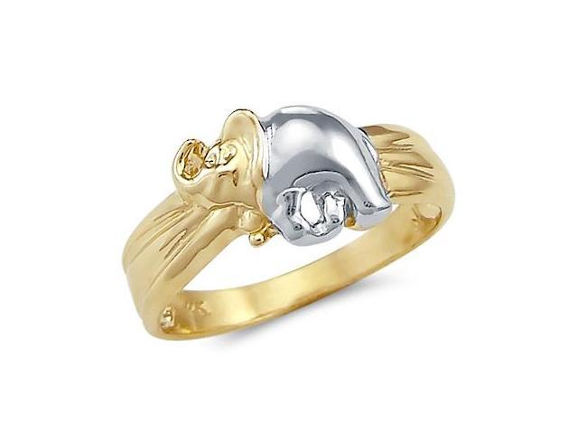 14k Yellow and White Gold 2 Two Tone Ladies Elephant Ring