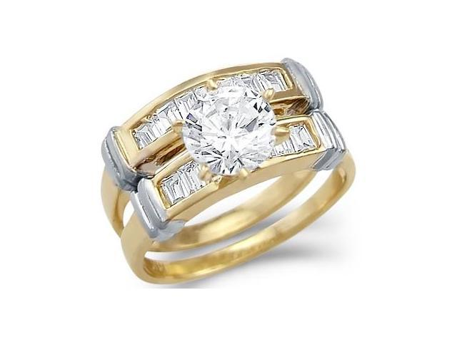 Solid 14k Yellow Gold Solitaire Engagement Set CZ Cubic Zirconia Ring Band 1.75 ct