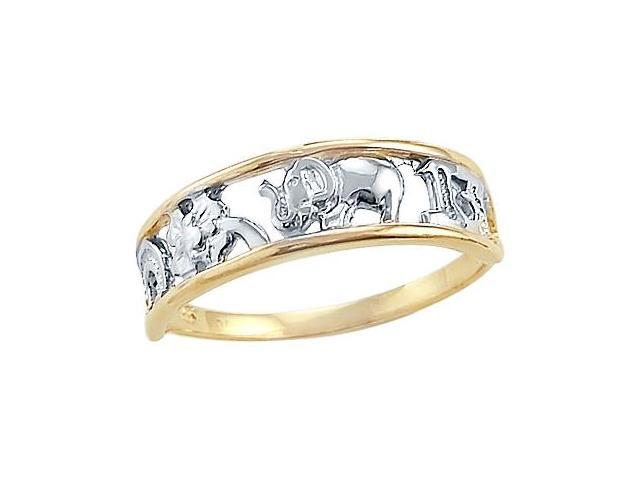 14k Yellow and White Gold 2 Tone Elephant 13 Ladies Ring