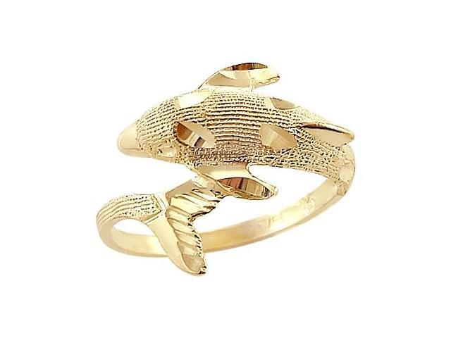 14k Yellow Gold Dolphin Elegant Animal Ladies Ring