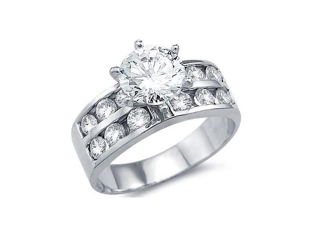 Solid 14k White Gold Solitaire CZ Cubic Zirconia Channel Set Engagement Ring Round Cut 2.5 ct