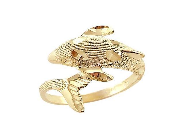 14k Yellow Gold Dolphin Elegant Animal Ladies Ring