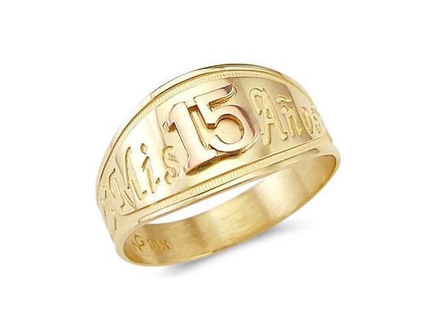 14k Yellow n Rose Gold Mis 15 Anos Birthday Heart Ring