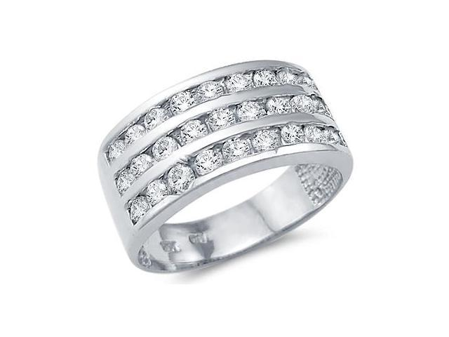 Solid 14k White Gold Ladies CZ Cubic Zirconia Anniversary Wedding Band Ring 1.5 ct