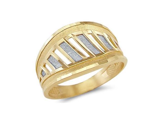 14k Yellow and White Gold 2 Tone Ladies Fashion Ring