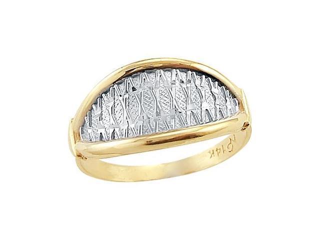 14k Yellow and White 2 Two Tone Gold Ladies Designer Ring