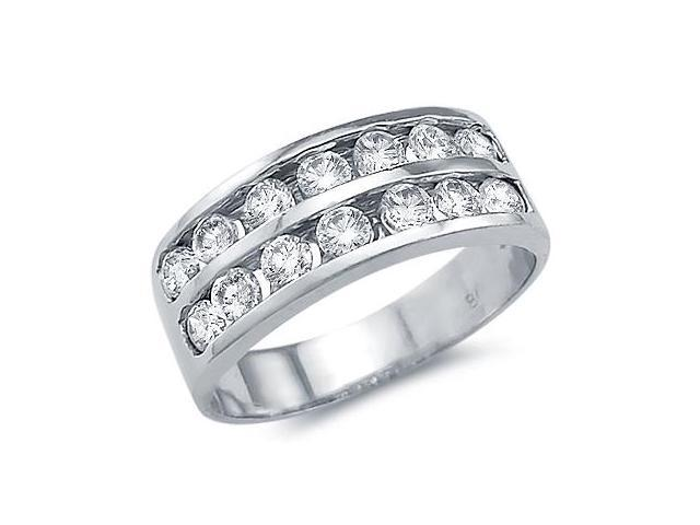 Solid 14k White Gold Channel Set Round CZ Cubic Zirconia Wedding Band Ring 1.0 ct