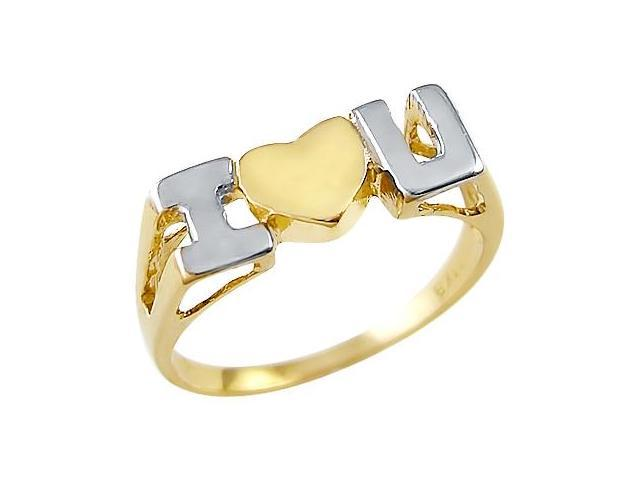 14k Yellow and White 2 Tone I Love You Heart Ladies Ring