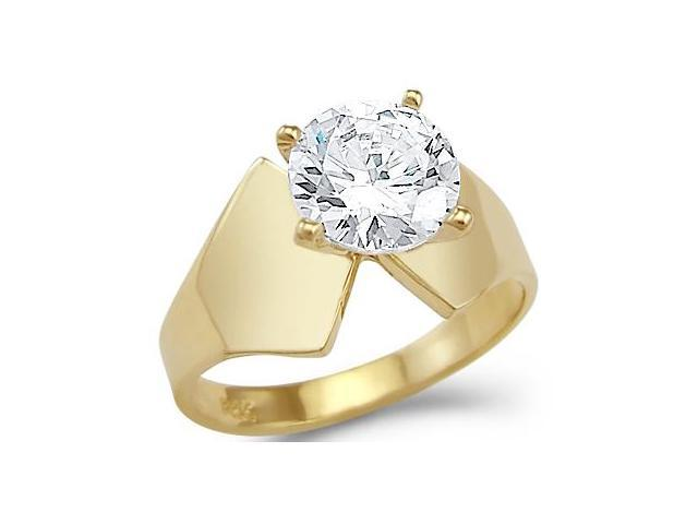 Solid 14k Yellow Gold Elegant Solitaire Engagement CZ Cubic Zirconia Ring Round Cut 2.0 ct