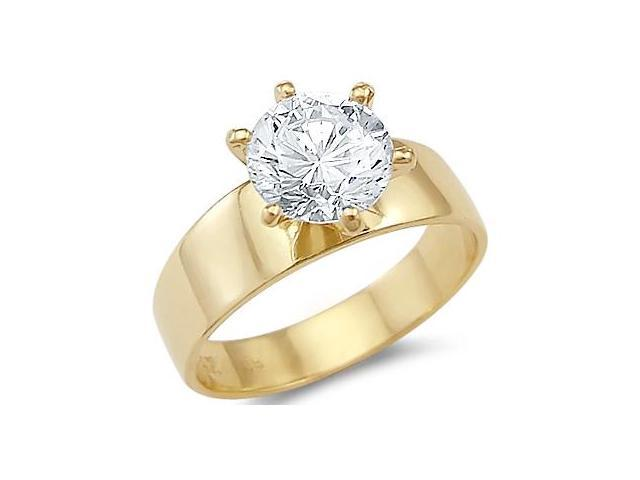 Solid 14k Yellow Gold Solitaire Engagement CZ Cubic Zirconia Ring Band 2 ct. Round Cut