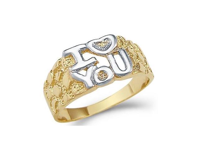 14k Yellow and White Gold I Love You Heart Nugget Ring