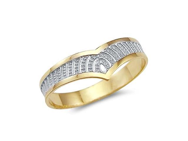 14k Yellow and White 2 Two Tone Gold Elegant Womens Ring