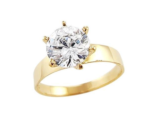 Solid 14k Yellow Gold Round Solitaire CZ Cubic Zirconia Engagement Ring Band 1.5 ct