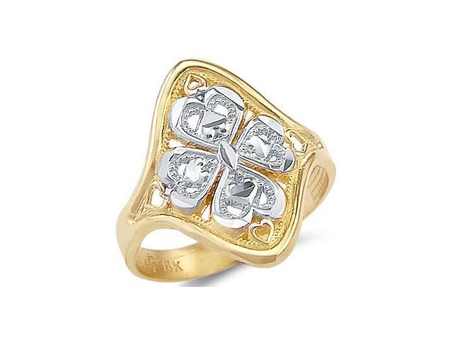 14k Yellow and White Gold Ladies Heart Flower Ring