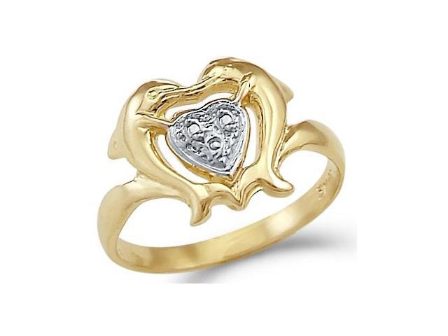 14k Yellow and White Gold Two Dolphins Kissing Heart Ring