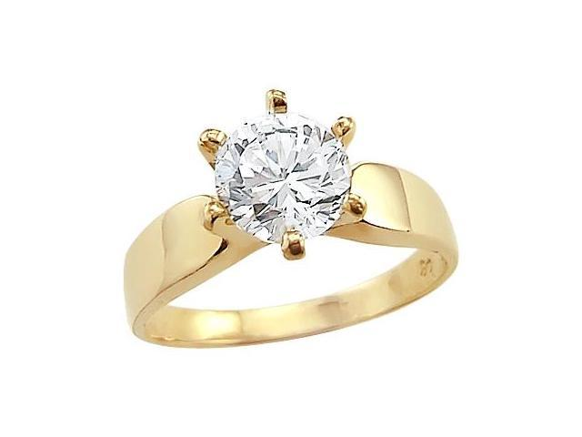 Solid 14k Yellow Gold Ladies Solitaire CZ Cubic Zirconia Engagement Ring Round Cut 1.5 ct