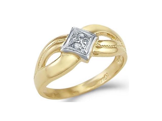 14k Yellow and White Gold Ladies Diamond Shape Ring