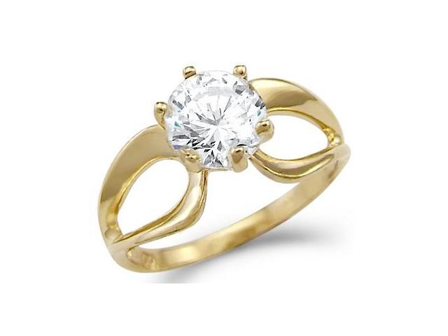Solid 14k Yellow Gold Solitaire Engagement Wedding CZ Cubic Zirconia Ring Round Cut 1.5 ct